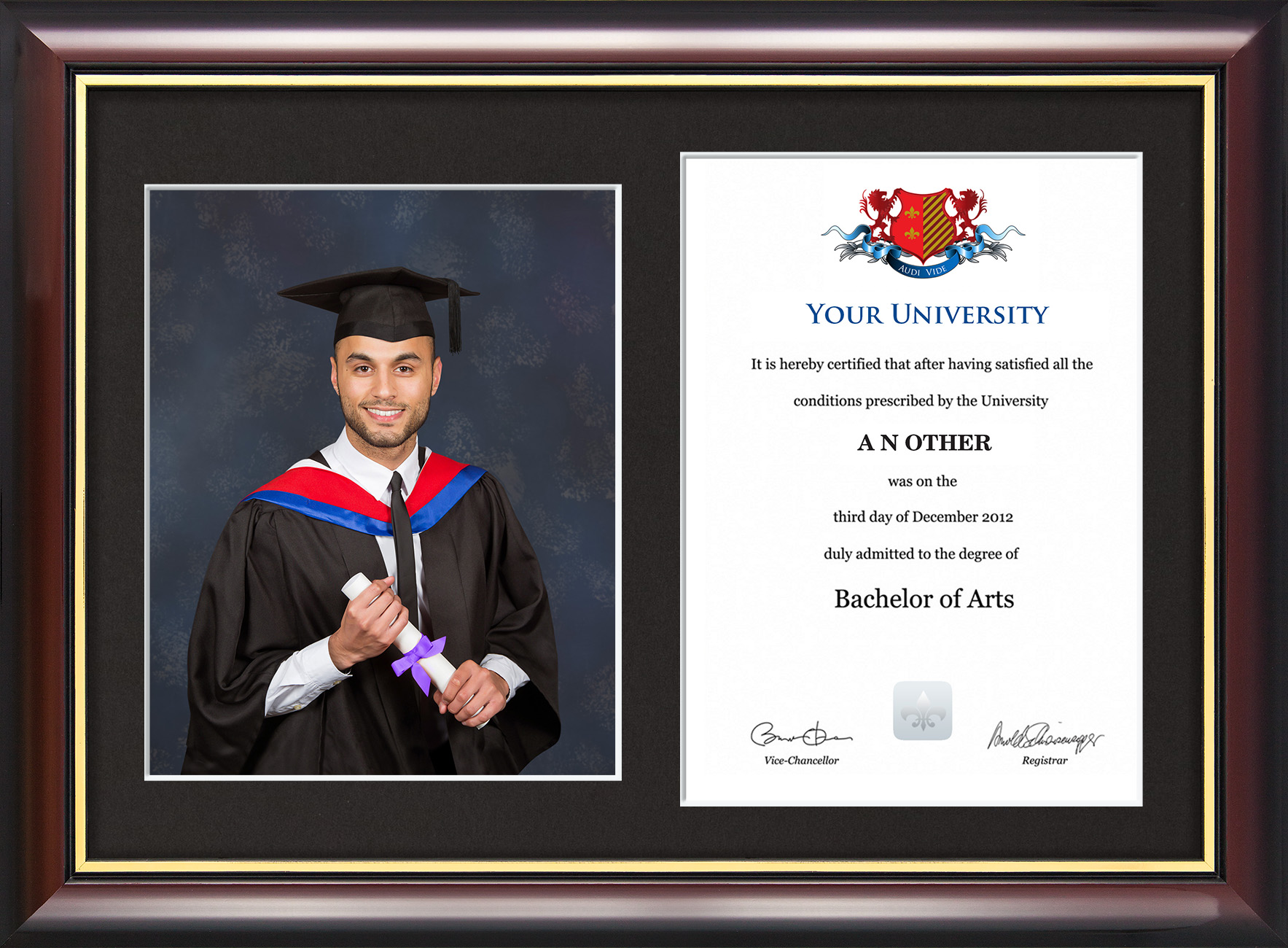 Dual Graduation Certificate And Photo Frame Traditional